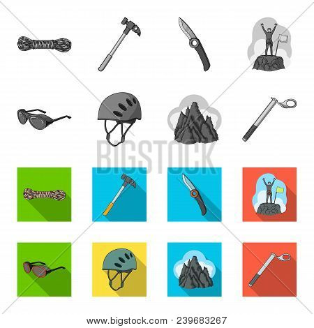 Helmet, Goggles, Wedge Safety, Peaks In The Clouds.mountaineering Set Collection Icons In Monochrome