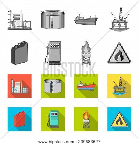 Canister For Gasoline, Gas Station, Tower, Warning Sign. Oil Set Collection Icons In Monochrome, Fla