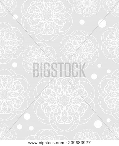 Doodle Flower Motif, Low Contrasting White Drawing On Light Gray Background, Seamless Patterns, Text