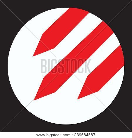 Icon Rockets Attention White Round Icon With Three Red Falling Rockets Inside Ban On Nuclear War Sym