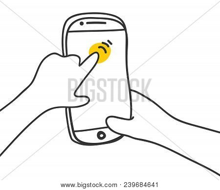Hand Touching Phone Screen Scrolls On The Screen Of A Mobile Phone. Scrolling Tap Smartphone Finger