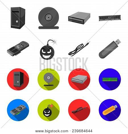 Video Card, Virus, Flash Drive, Cable. Personal Computer Set Collection Icons In Monochrome, Flat St