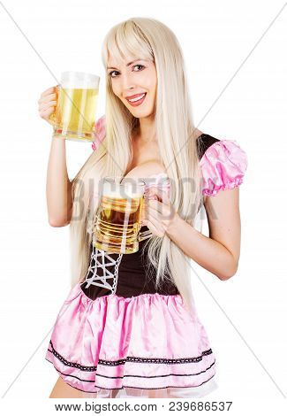 Oktoberfest Woman With Big Breast Holds Two Mugs