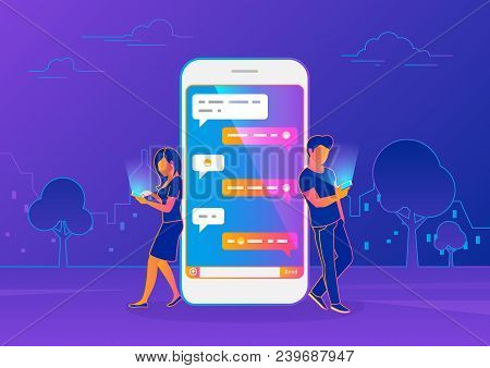 Chat Messenger Concept Of Young People Using Mobile Smartphone For Sending Messages In Chat. Modern