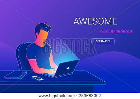 Young Man Sitting In The Office At Work Desk And Working With Laptop. Modern Gradient Line Vector Il