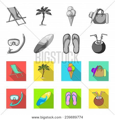 Diving, Surfing, Cocktail.summer Vacation Set Collection Icons In Monochrome, Flat Style Vector Symb