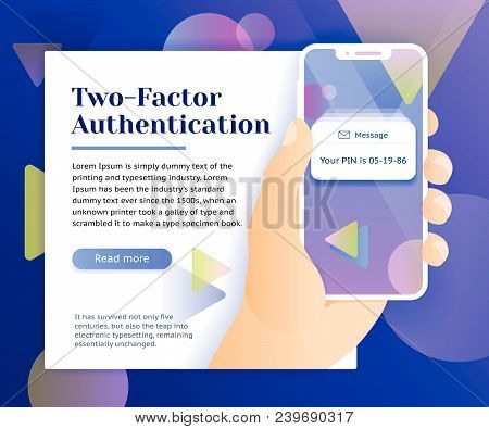 Two Factor Authentication Web Banner Concept. Verification Code Message. Smartphone With Sms Code. M