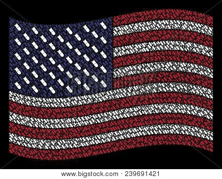 Aviation Bomb Symbols Are Grouped Into Waving American Flag Abstraction On A Dark Background. Vector