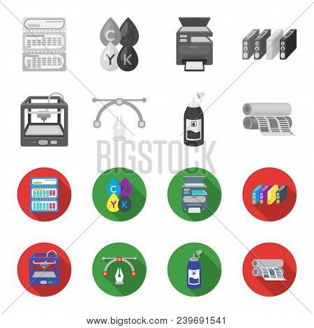 3d Printer, Newspaper Printer, Ink, Pen. Typography Set Collection Icons In Monochrome, Flat Style V
