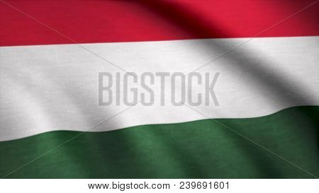 Fabric Flag Of Hungary. Flag Of Hungary Background.
