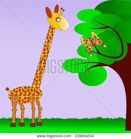 Giraffe and her butterfly sibling