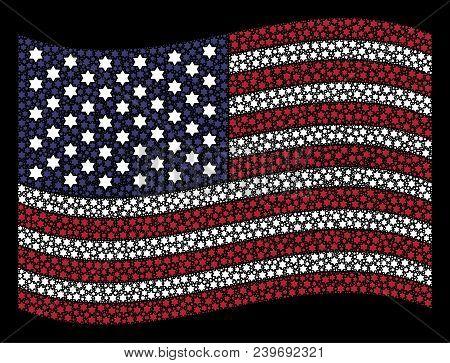 Six Pointed Star Pictograms Are Arranged Into Waving Usa Flag Stylization On A Dark Background. Vect
