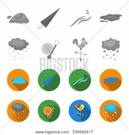 Rain, Snow, Heat, Weathervane. The Weather Set Collection Icons In Monochrome, Flat Style Vector Sym