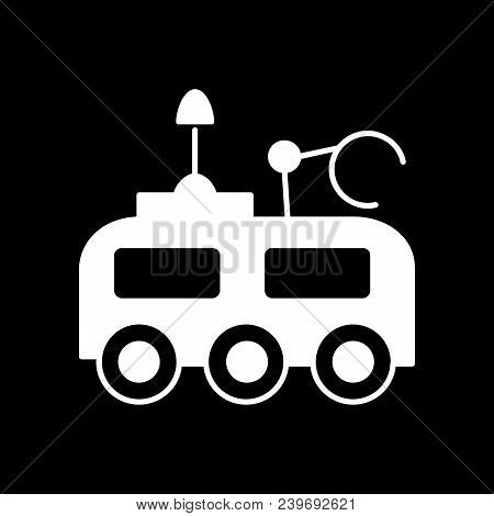 Moon Rover Icon. Silhouette Moon Rover Vector Icon For Web Design Isolated On Black Background