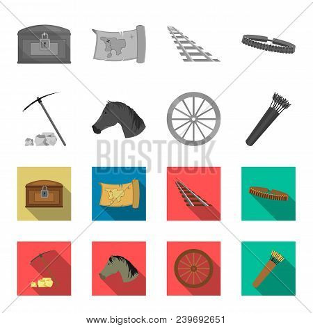 Pickax Hoe, Horse Head, Wheel Cart, Quiver With Arrows.wild West Set Collection Icons In Monochrome,