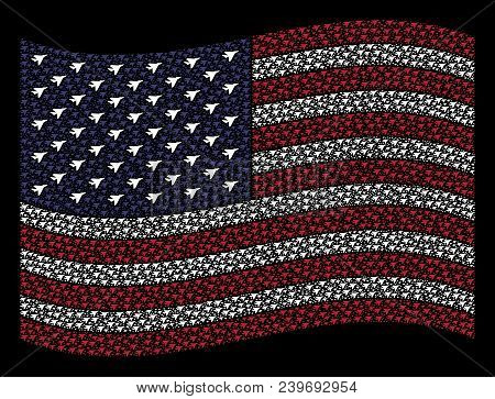 Airplane Intercepter Symbols Are Composed Into Waving American Flag Stylization On A Dark Background