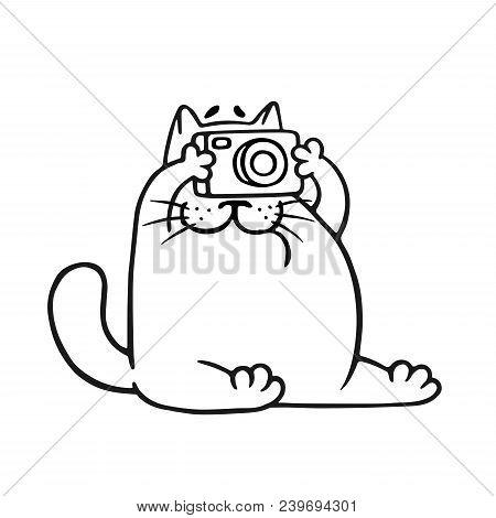 Funny Fat Cat Photographer. Vector Illustration. Pet Character.