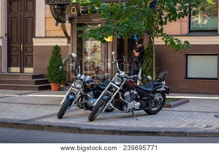Kiev, Ukraine - June 10, 2016: Luxury Classic Motorcycles Parked On The Street In The City Center
