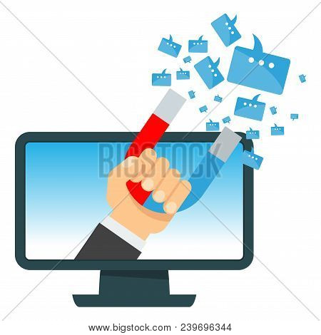 Attraction Of Message In Computer. Flat Vector Cartoon Illustration. Objects Isolated On White Backg