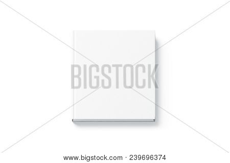 Blank White Square Hardback Book Mock Up, Top View, Isolated. Empty Notebook Hard Cover Mockup. Book