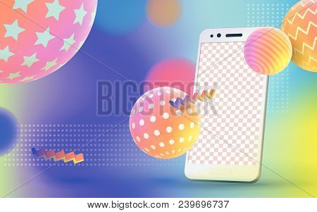 Multicolored Abstract Vector Holographic 3d Background. Trendy Liquid Gradients. Colored 3d Balls Wi