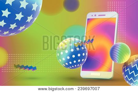 Colored 3d Balls With Textures And Realistic Isolated Smartphone. Multicolored Abstract Vector Holog