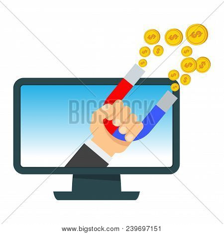 Attraction Of Money In Computer. Flat Vector Cartoon Illustration. Objects Isolated On White Backgro