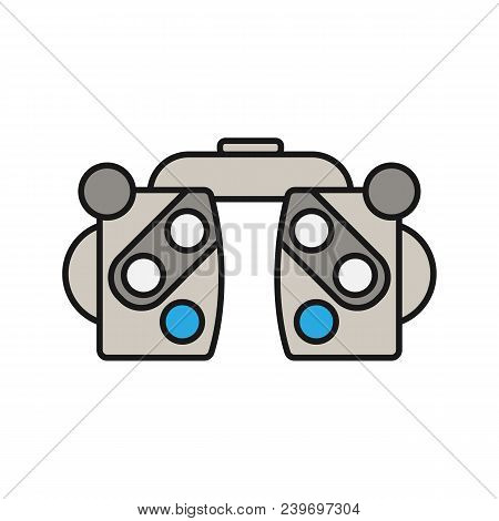 Phoropter Color Icon. Refractor. Ophthalmic Testing Device. Isolated Vector Illustration