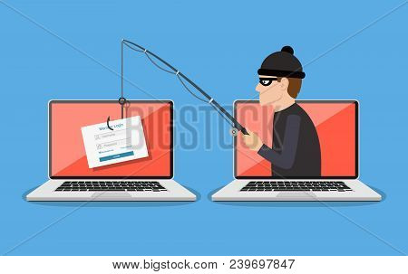 Login Into Account And Fishing Hook. Phishing Scam, Hacker Attack And Web Security Concept. Online S