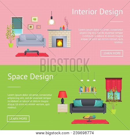 Interior And Space Design Web Pages Collection With Text And Headline And Buttons, Decor Of Rooms, S