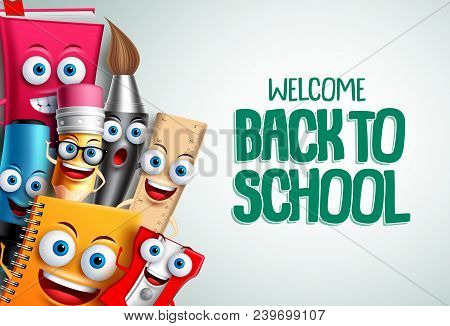 School Characters Vector Education Background. Back To School Text In White Empty Space With Colorfu