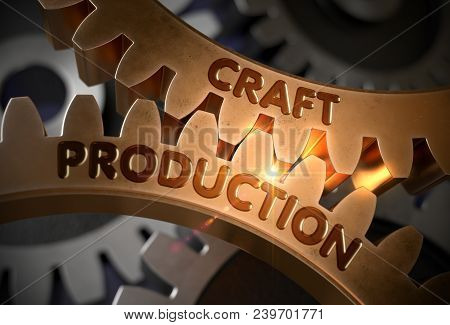 Craft Production On The Mechanism Of Golden Metallic Cogwheels With Lens Flare. Craft Production - T