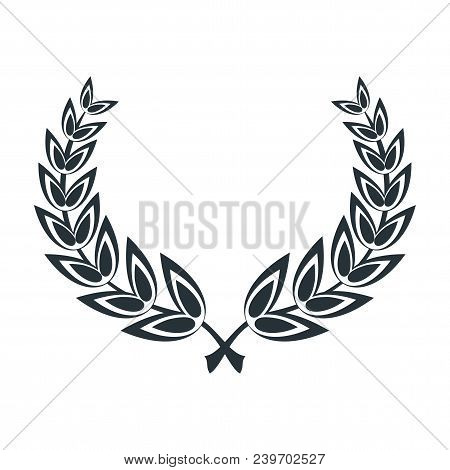 Wreath And A Round Frame Of Laurel Leaves. A Symbol Of Victory In Competition And Competition, A Rew