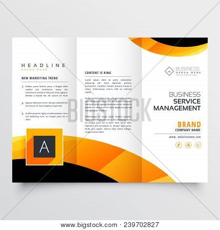 yellow orange black trifold brochure flyer design template for your business poster