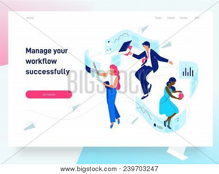 People Flying And Interacting With Graphs And Papers. Business And Workflow Management. Landing Page