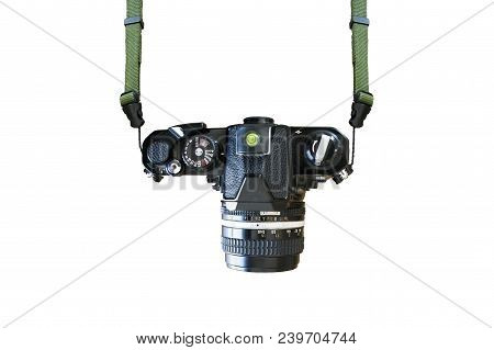 Top View Vintage Camera On Isolated White Background.old Rangefinder Retro Camera Vintage Style.silv