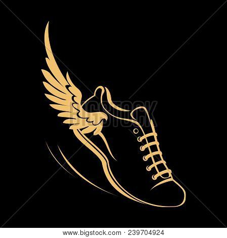 Sports Shoes For Running, Running Shoe With A Wing. Graphic Modern Vector Illustration. Golden Symbo