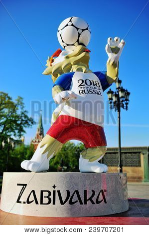 Moscow, Russia - May 08: Official Mascot Zabivaka Of Fifa World Cup 2018 In Moscow, Russia On May 8,