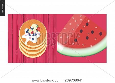 Simple Things - Color - Flat Cartoon Vector Illustration Of Stack Of Pancakes, Vanilla Ice Cream Sco