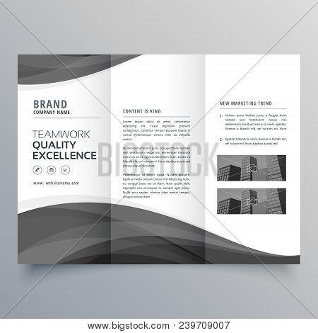 black wave business trifold brochure design template poster