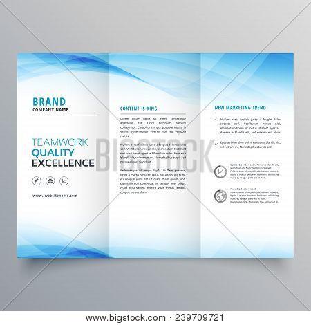 elegant blue business trifold brochure design flyer template poster