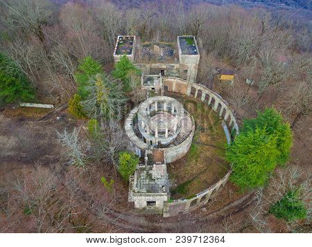 Drone View Of The Abandoned Building Of The Former Restaurant Among The Trees On The Top Of Mount Ak