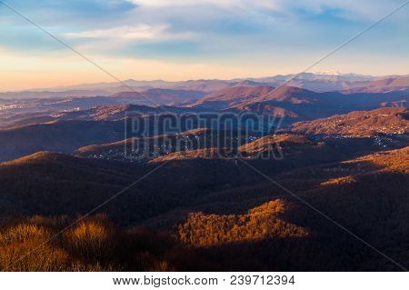 Aerial View Of Mountains And Villages Of Sochi In The Light Of The Setting Sun, Russia