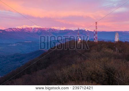Aerial View Of The Mount Akhun On The Background Of Mountains In The Light Of The Setting Sun, Sochi