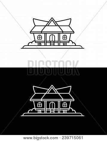 Kajang Leko - Jambi Traditional House, Indonesia, Line Art Or Vector Line Drawing