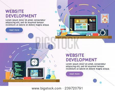 Flat Design Modern Vector Illustration Concept. Business Process Set Of Flat Color Banners Design. W