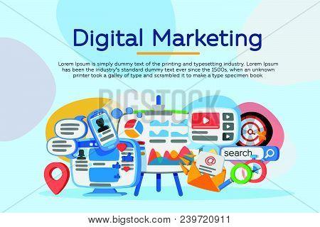 Business Analysis. Digital Marketing Concept. Social Network And Media Communication. Development Of