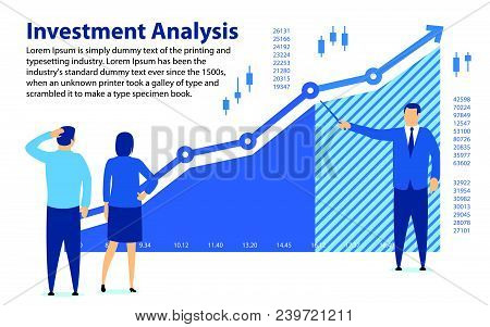 Analysis Of Investment. Banner In A Flat Style. Teaching Financial Literacy. The Specialist Shows Th