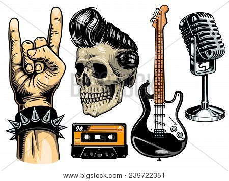 Set Of Rock And Roll Objects. Vector Ilustration