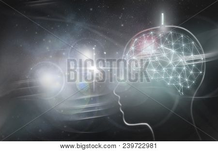 Human Brain With Digital Implant Being Inserted